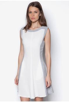 色塊修身寬擺洋裝