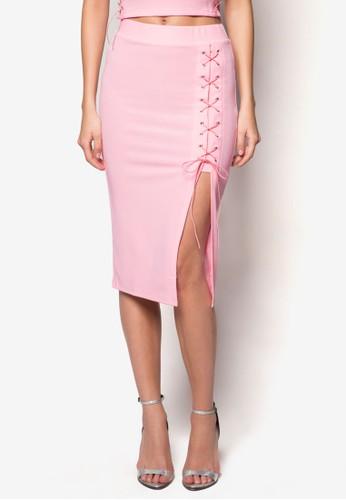 繫帶側開叉及膝裙, 服飾, zalora 鞋評價裙子