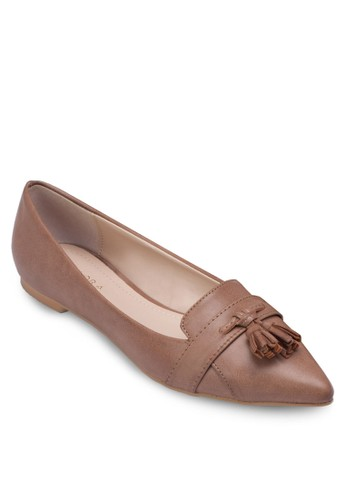 流蘇尖頭平zalora 心得底鞋, 女鞋, 船型鞋