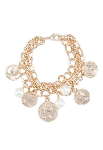 墜飾珍珠層次手鍊, 飾品配件, 手鐲 zalora開箱& 手環