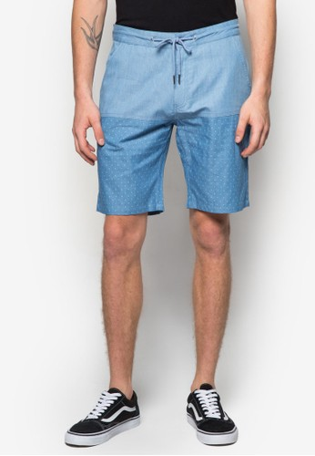 混合拼接抽繩丹寧短褲,zalora 心得 服飾, 短褲