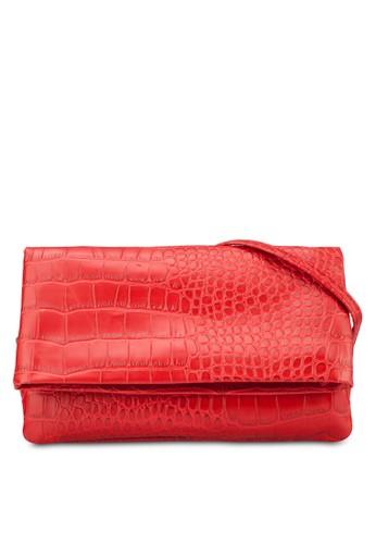 zalora鞋子評價鱷魚紋翻蓋手拿包, 包, 手拿包