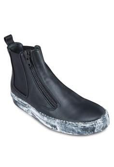 拉鍊皮革高筒運動鞋