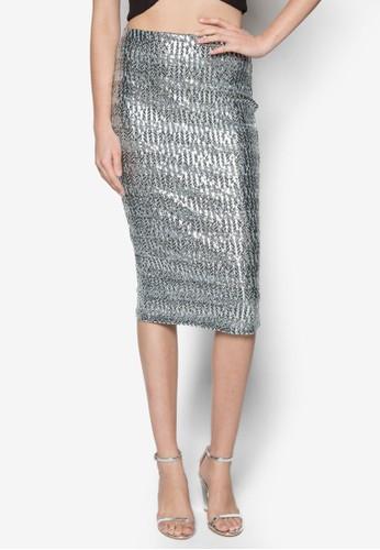 燙金暗紋鉛筆裙, 服飾, zalora鞋子評價及膝裙