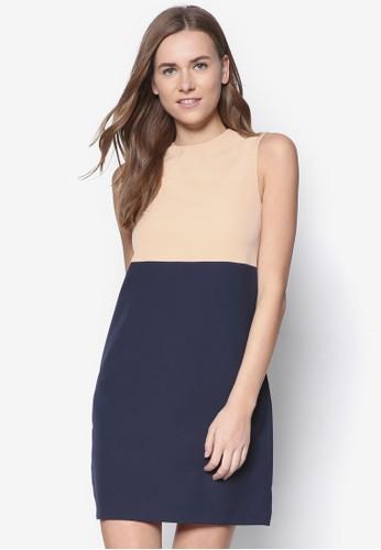 zalora開箱Empire 撞色拼接直筒連身裙, 服飾, 正式洋裝
