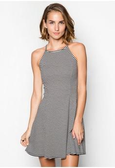Stripe High Neck Swing Dress