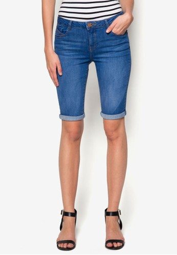 Mid Wash Knee Denimzalora退貨 Shorts, 服飾, 休閒短褲