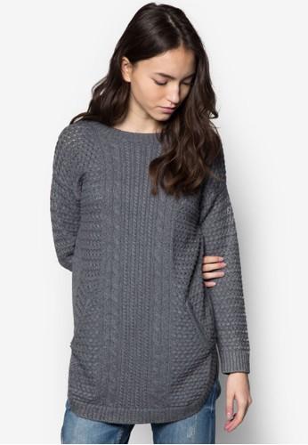 羊毛混紡長版織zalora 心得衫, 服飾, 毛衣& 針織外套
