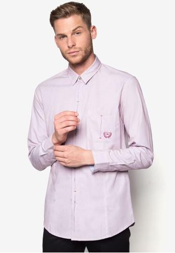 縫線鈕門長袖襯衫, 服飾,zalora鞋子評價 素色襯衫