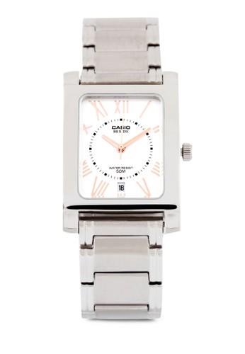 Casio BEM-100D-7zalora鞋A3VDF 不銹鋼方錶, 錶類, 不銹鋼錶帶