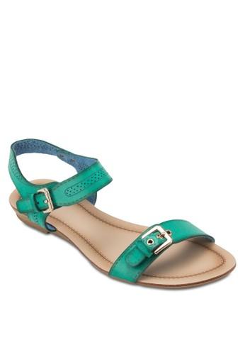 扣環沖孔繞踝涼鞋, 女鞋,zalora鞋 鞋