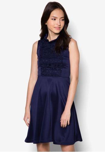 Diana 蕾zalora 心得絲拼接無袖洋裝, 服飾, 洋裝
