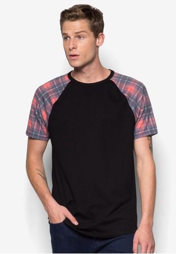 格紋zalora 台灣拼肩T 恤, 服飾, 服飾