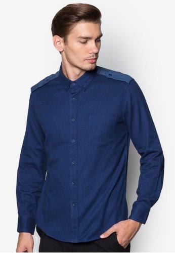 拼肩棉質長袖襯衫,zalora開箱 服飾, 服飾