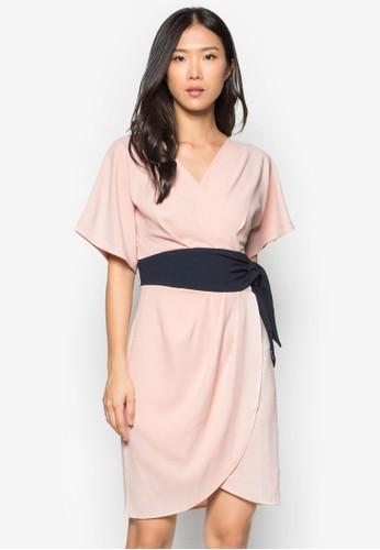 日式裹飾腰帶洋裝, 服飾, zalora 心得正式洋裝