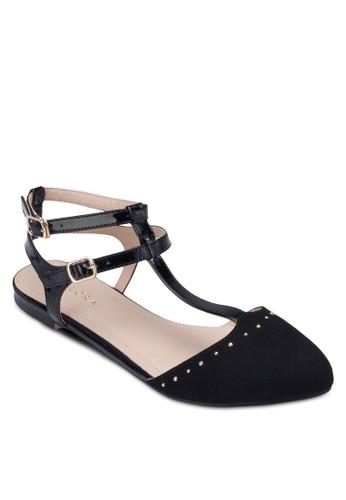 鉚zalora開箱釘雙踝帶平底鞋, 女鞋, 芭蕾平底鞋