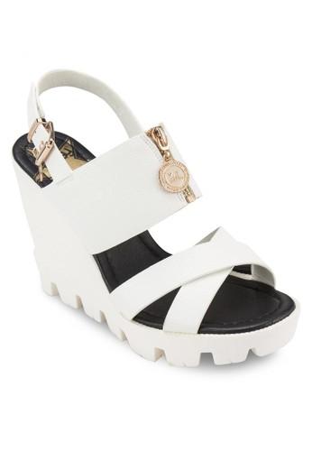zalora開箱交叉帶拉鍊楔形涼鞋, 女鞋, 鞋