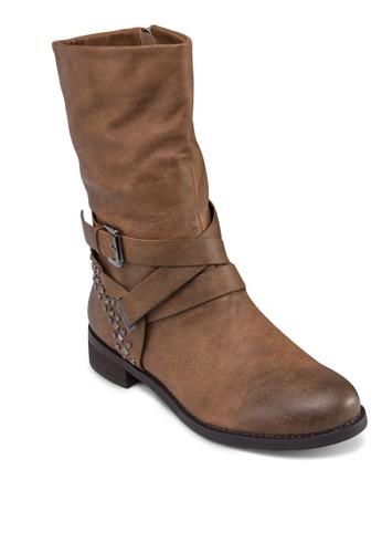 纏繞踝帶鉚釘中筒靴, 女鞋,zalora開箱 鞋