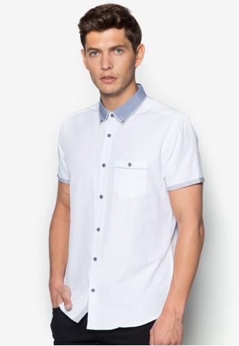 拼zalora退貨色領短袖襯衫, 服飾, 服飾