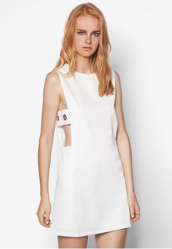 zalora開箱側鏤空直筒連身裙, 服飾, 服飾
