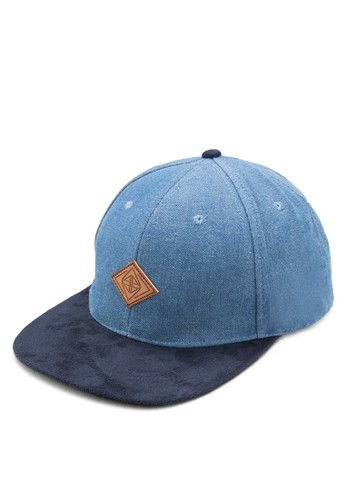 zalora 心得雙色丹寧平沿帽, 飾品配件, 帽飾
