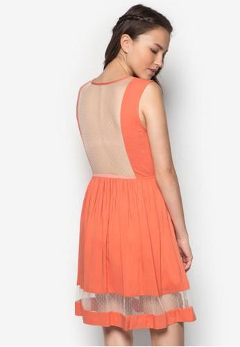 透膚網紗拼接連身裙, 服飾, zalora 評價短洋裝