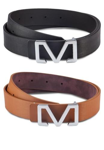 二入M字牌飾腰帶,zalora鞋子評價 飾品配件, 飾品配件