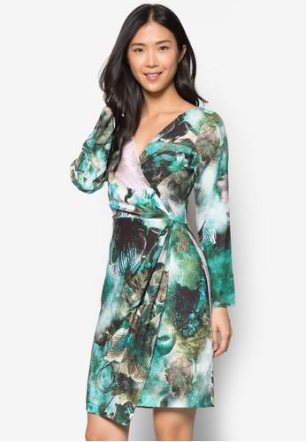印花裹式長袖連身裙, 服飾, 短zalora 台灣洋裝