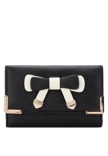 金屬蝴蝶結口金三折zalora開箱皮夾, 包, 飾品配件