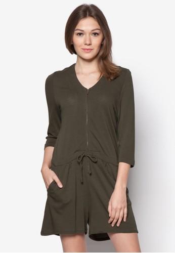 拉鍊繫帶zalora 台灣棉質連身褲, 服飾, 服飾