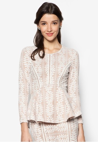 Lace Pieced Peplum Topzalora開箱, 服飾, 上衣