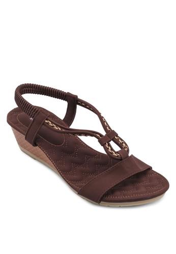 彈性踝帶厚底涼鞋zalora退貨, 女鞋, 楔形涼鞋
