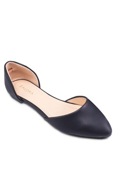 D'orsay 側鏤空尖頭平底鞋