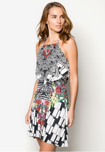 Lucilla 削肩束腰印花zalora退貨洋裝, 服飾, 洋裝