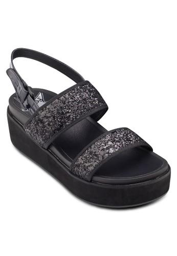 閃飾寬帶厚zalora 台灣底涼鞋, 女鞋, 楔形涼鞋