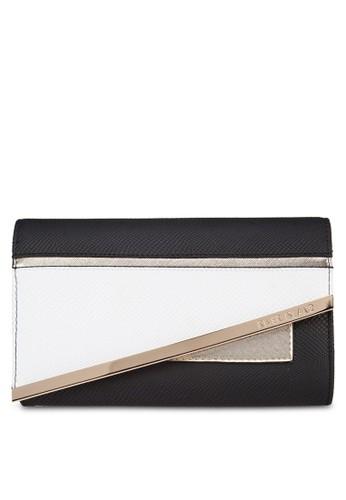 zalora鞋子評價不對稱撞色翻蓋手拿包, 包, 飾品配件