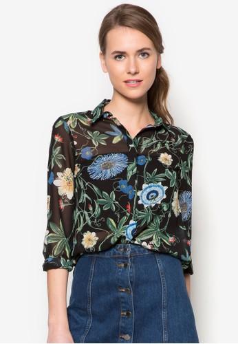 植物印花zalora 心得長袖襯衫, 服飾, 上衣