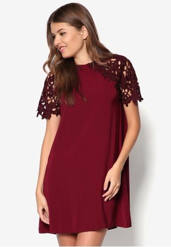 蕾絲拼袖連身裙zalora鞋, 服飾, 服飾