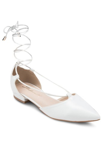 尖頭纏繞踝帶zalora鞋子評價平底鞋, 女鞋, 芭蕾平底鞋
