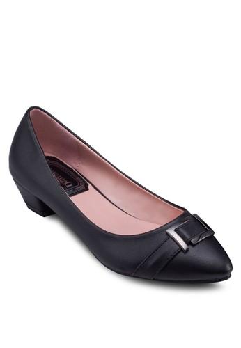 PU 扣環尖頭低跟鞋, 女鞋,zalora 泳衣 厚底高跟鞋