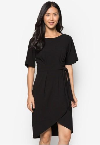裹式繫帶連身裙, 服飾,zalora退貨 洋裝