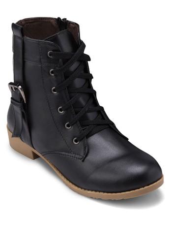 側扣環繫zalora 心得帶踝靴, 女鞋, 靴子