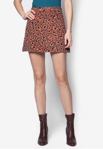 毛絨豹topshop 台灣紋A 字短裙, 服飾, 服飾