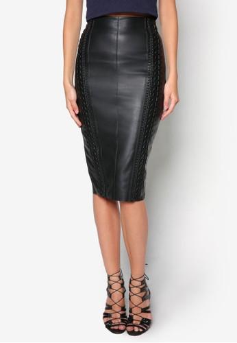 Whipstitch Pu 編織鉛筆及膝短裙, 服zalora鞋子評價飾, 服飾