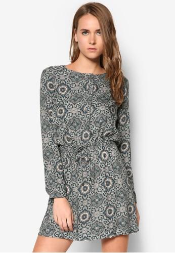 印花繫zalora退貨帶長袖洋裝, 服飾, 服飾
