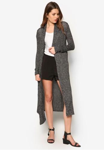 斑點針織長版開襟外套, zalora 心得服飾, 服飾