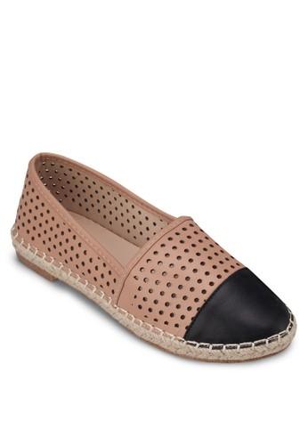 沖孔zalora 折扣碼撞色麻編鞋, 女鞋, 芭蕾平底鞋