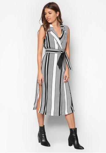 條紋繫帶無袖長版外套, 服飾,zalora 評價 服飾
