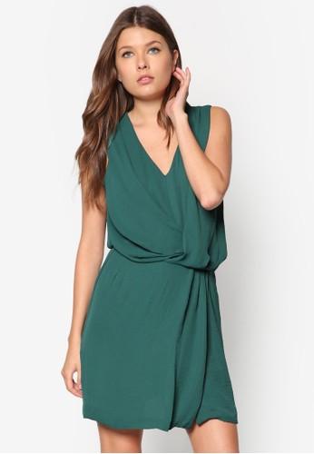 垂褶V 領zalora 包包 ptt連身裙, 服飾, 洋裝