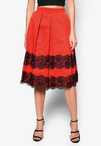 蕾絲拼接傘擺及膝裙, 服飾, 服zalora 鞋評價飾